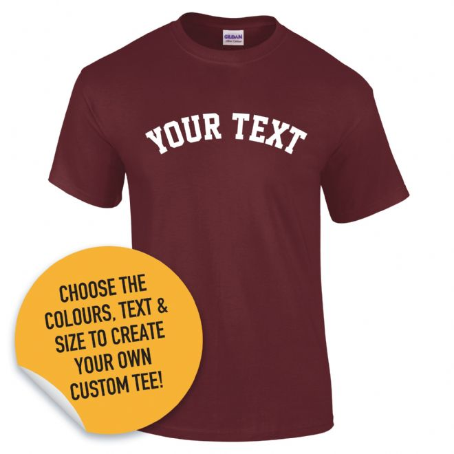 Custom College Style Text T-Shirt